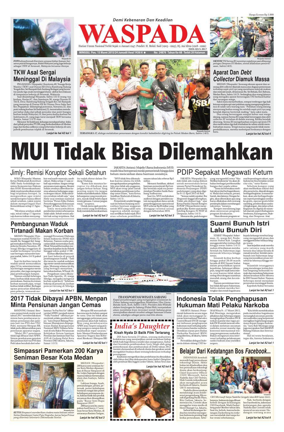 Waspada, minggu 15 maret 2015 by Harian Waspada - issuu