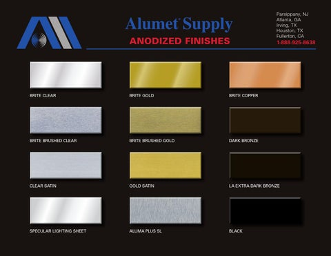 Alumet Anodized Finishes Color Chart By Alice Buchman