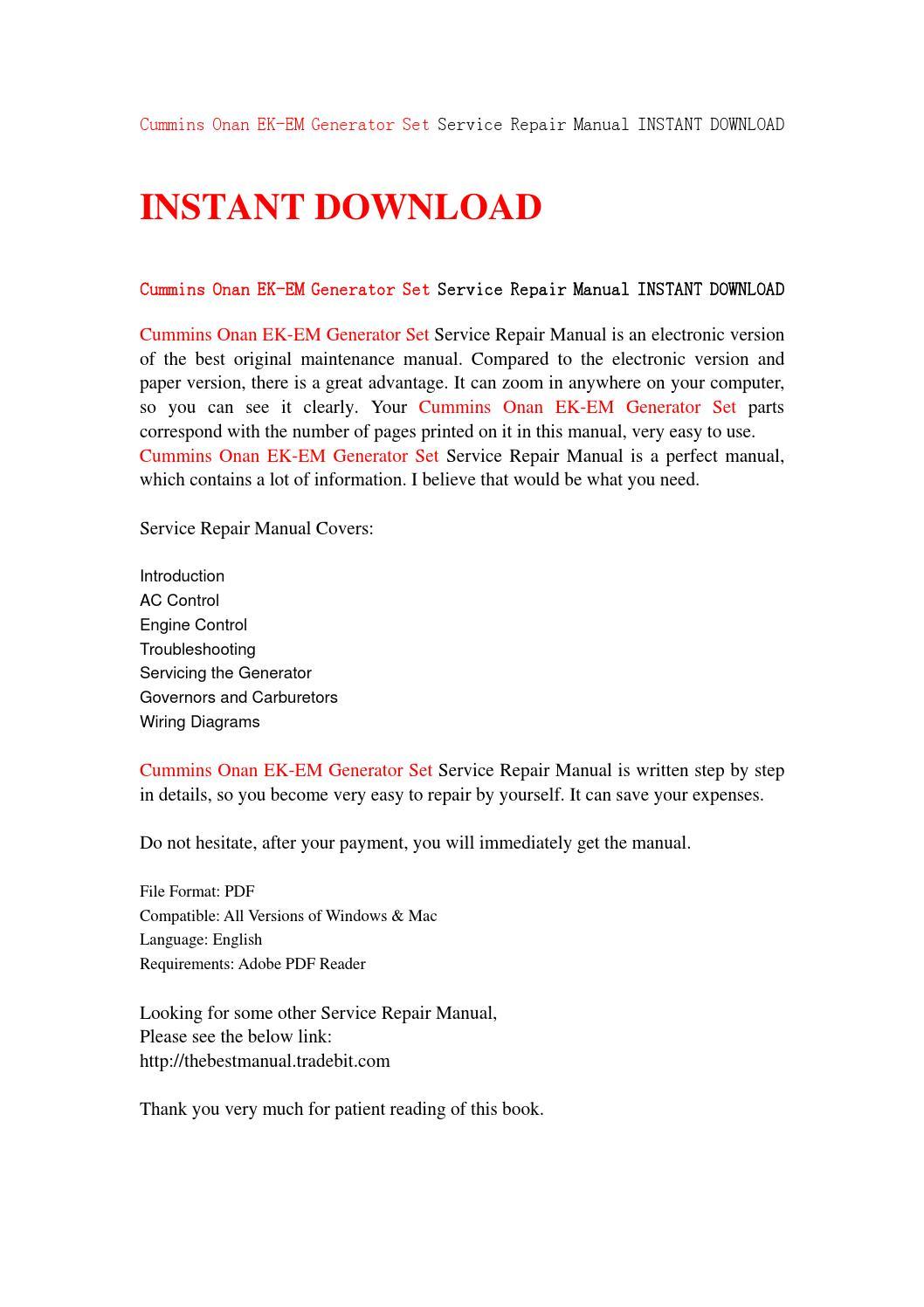 Cummins onan ek em generator set service repair manual instant download by  jjfhnsjefn - issuu