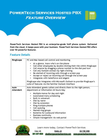 PowerTech Services Hosted PBX feature overview by PowerTech