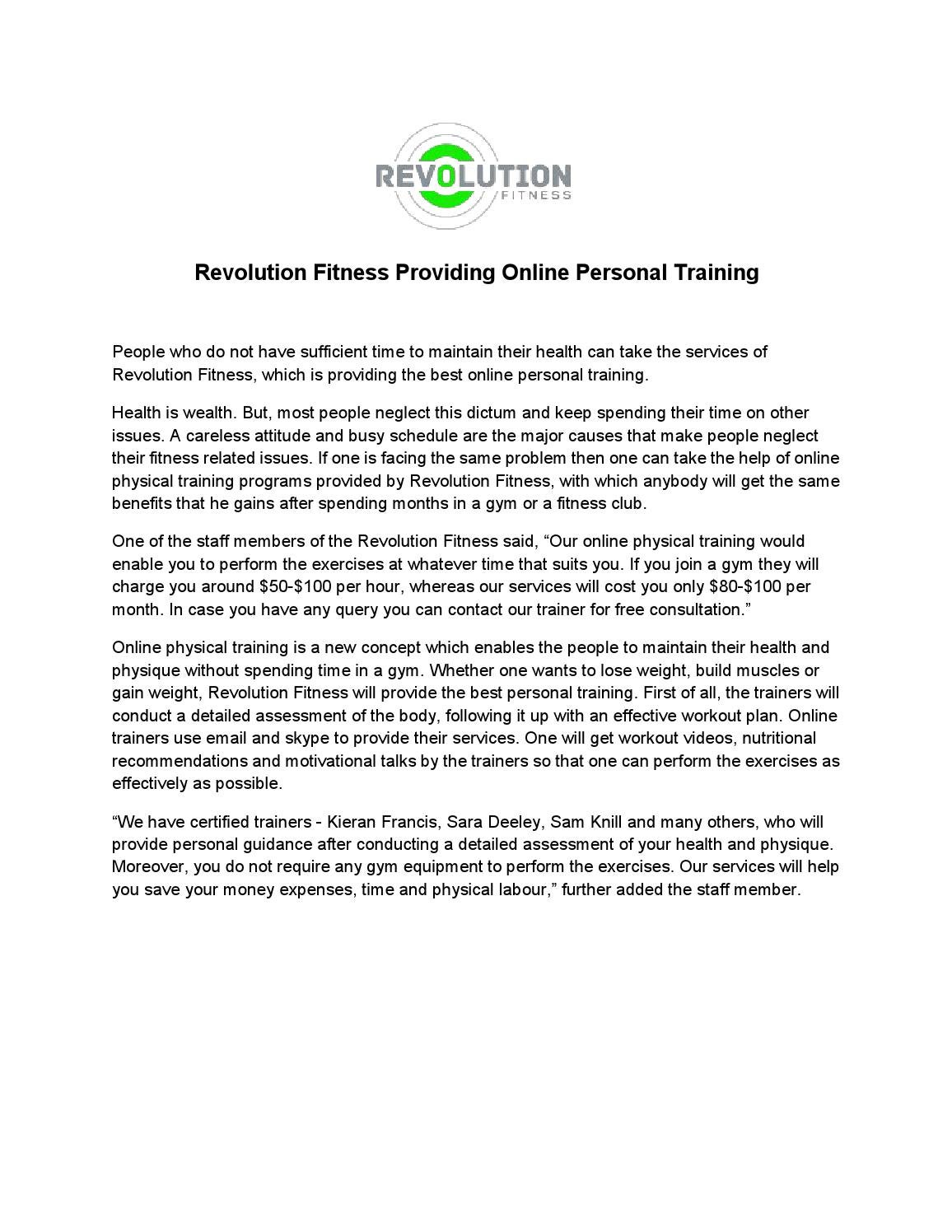 Revolution Fitness Providing Online Personal Training By Harry