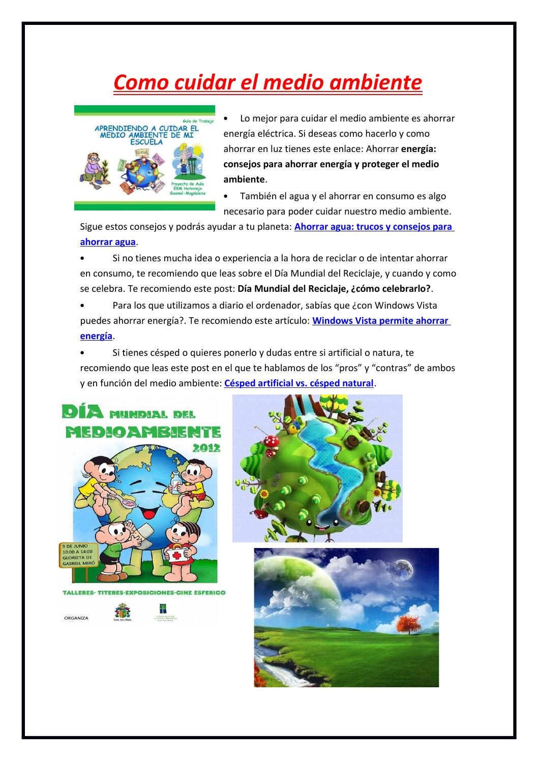 Como cuidar el medio ambiente by ligia inca issuu - Como humidificar el ambiente ...