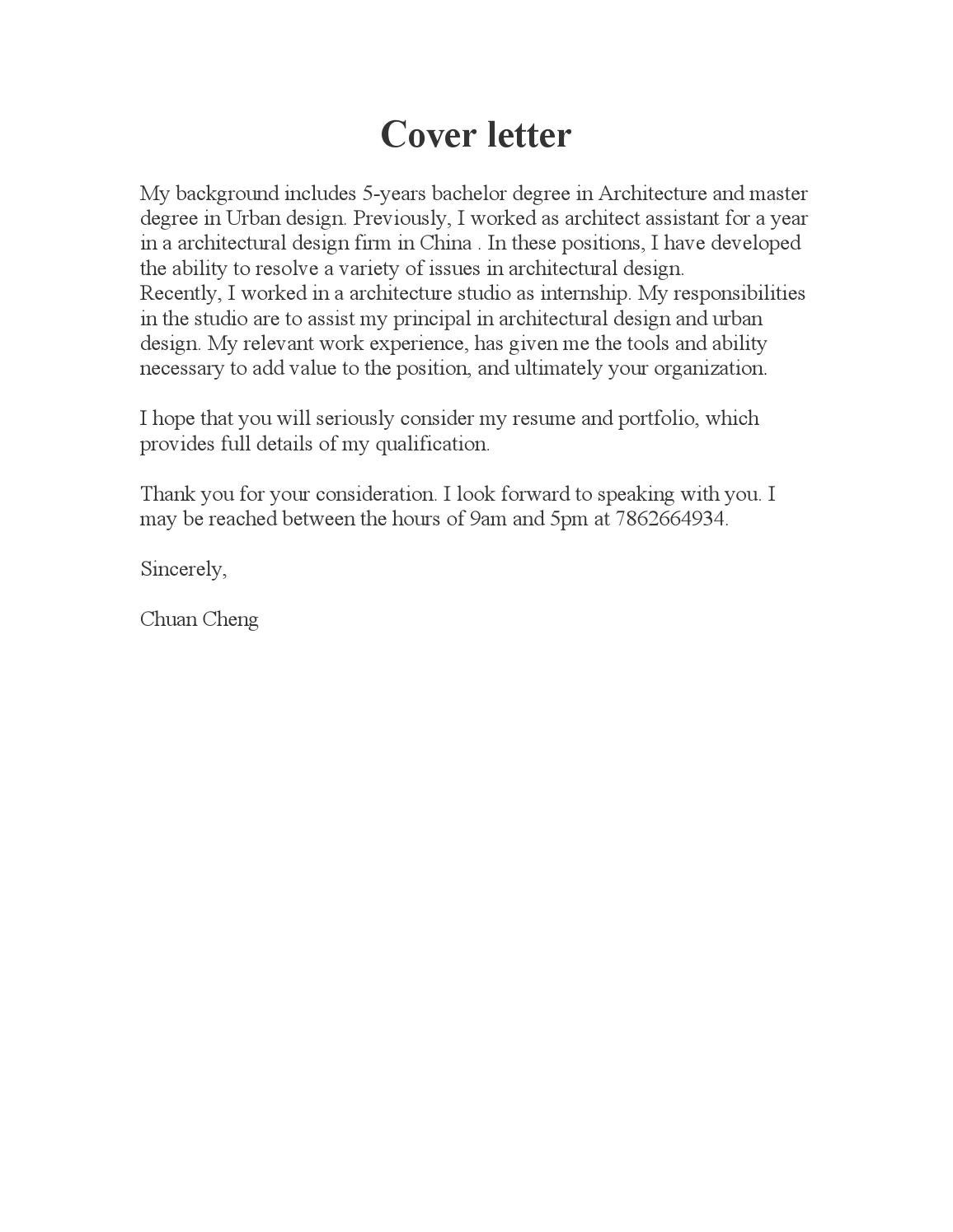 Cover Letter Resume Portfolio7 By Chuancheng Issuu