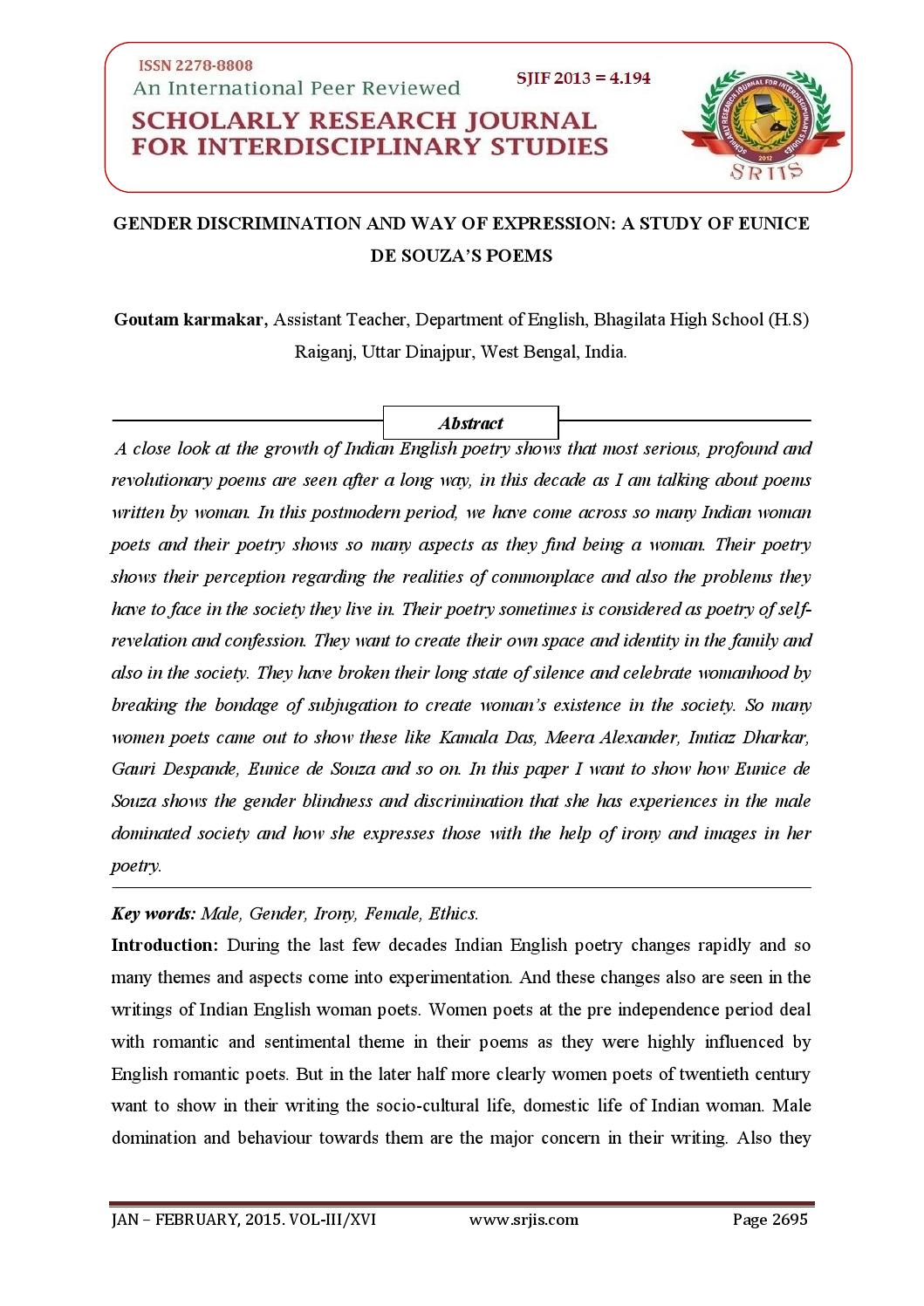 GENDER DISCRIMINATION AND WAY OF EXPRESSION: A STUDY OF EUNICE DE SOUZA'S  POEMS