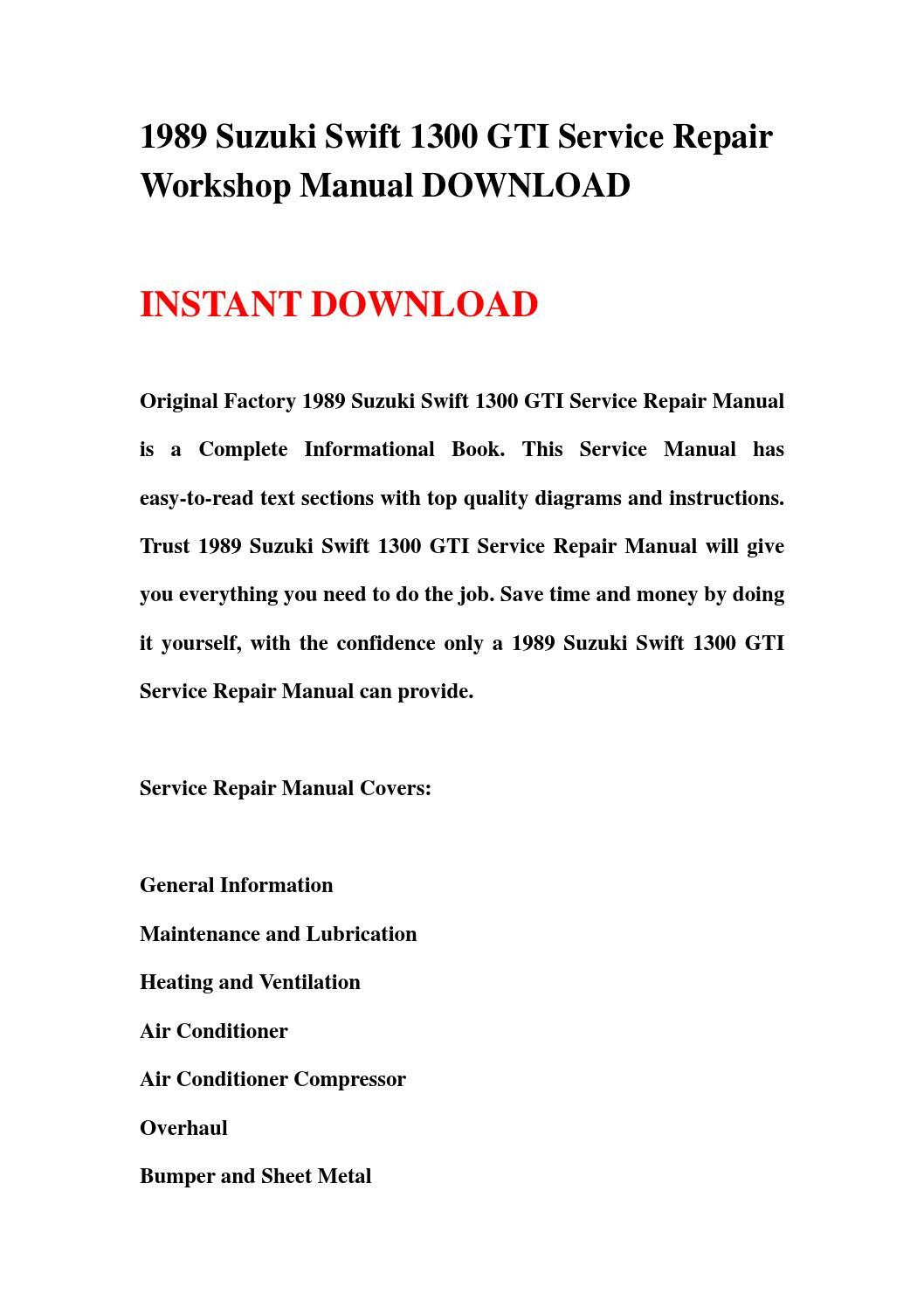 1989 Suzuki Swift 1300 Gti Service Repair Workshop Manual Download By Jhdjrhnn