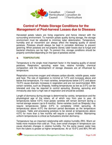 Control of Potato Storage Conditions for the Management of Post-harvest Losses due to Diseases Harvested potato tubers are living organisms and hence ...  sc 1 st  Issuu & Control of Potato Storage Conditions for the Management of Post ...