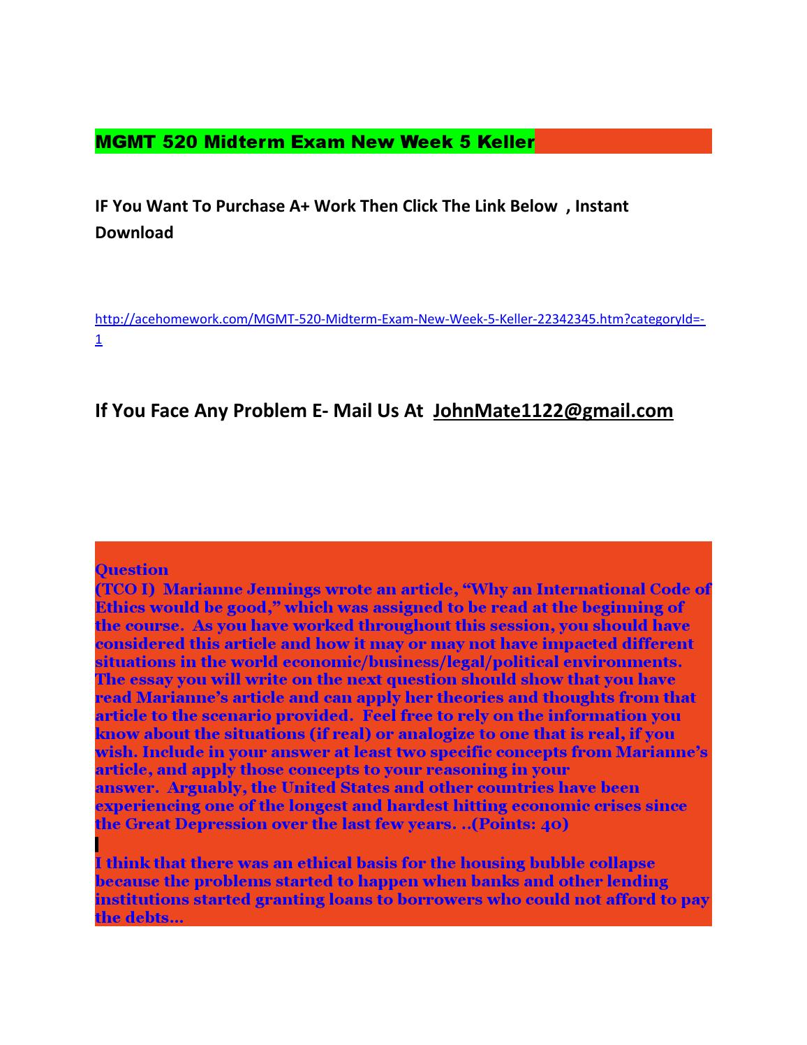 mgmt 520 midterm answers Mgmt 520 midterm exam 3 1 (tco b)infuriated when harry reid is re-elected during the 2010 fall election, the republican national committee decides to take matters into its own hands.
