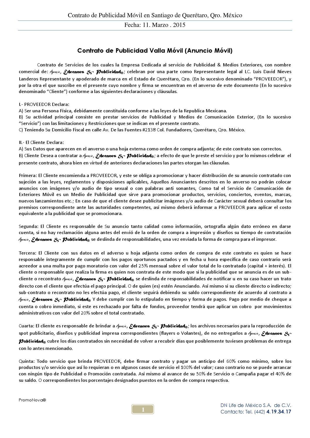 contrato de publicidad m u00f3vil by dn life de mexico sa de cv