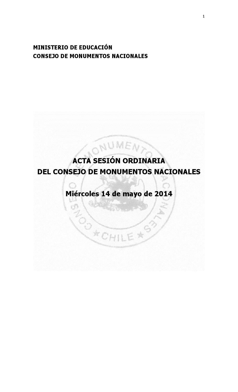 Acta Sesi N Ordinaria Del Consejo De Monumentos Nacionales  # Muebles Loa Sur Ancud