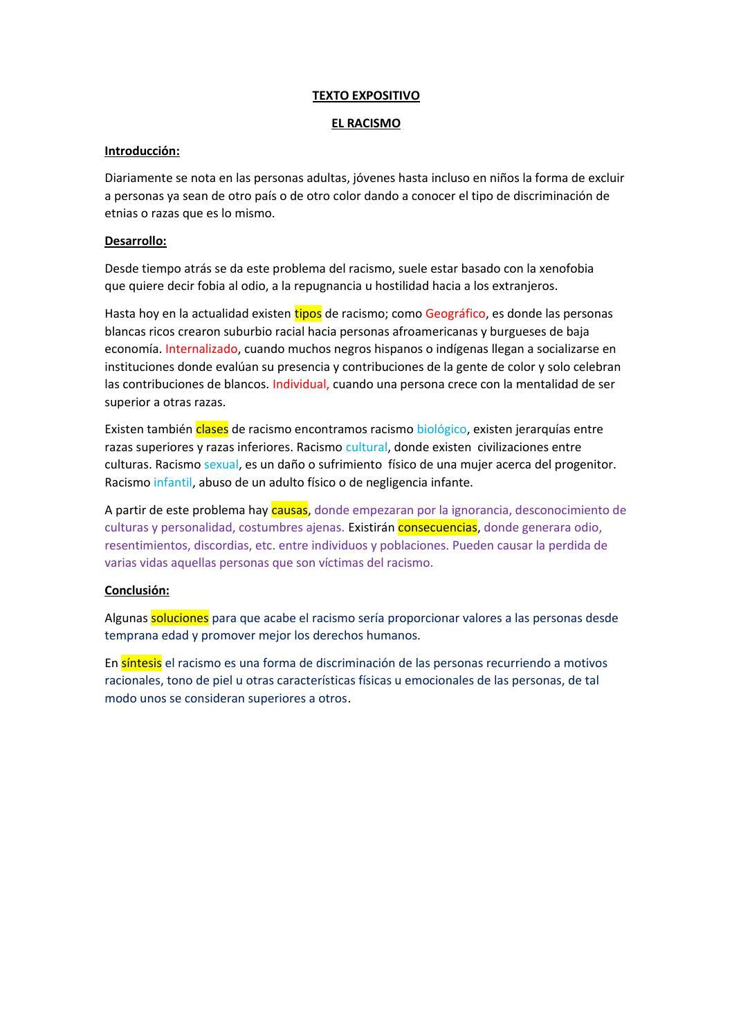 Texto Expositivo El Racismo By Chucho Issuu
