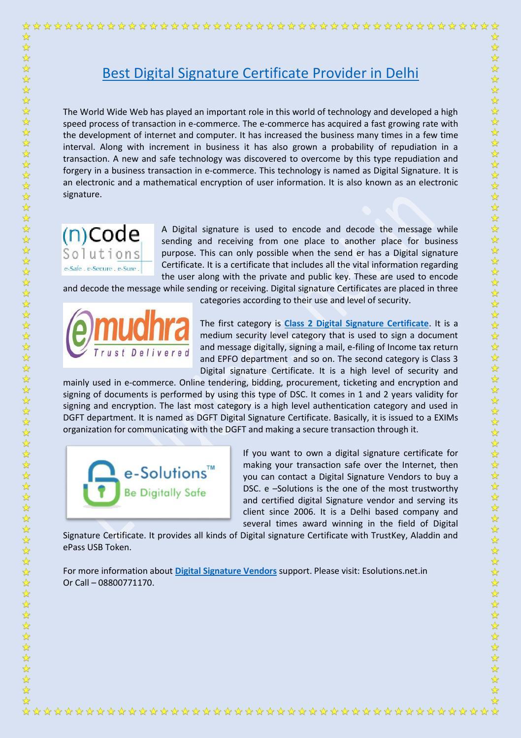Best Digital Signature Certificate Provider In Delhi By