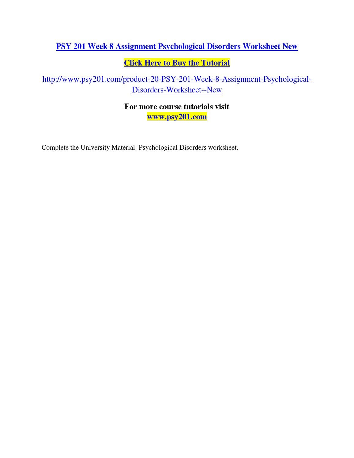 psy 201 week 6 assignment Psy 201 complete course material purchase here   product description psy 201 complete course.