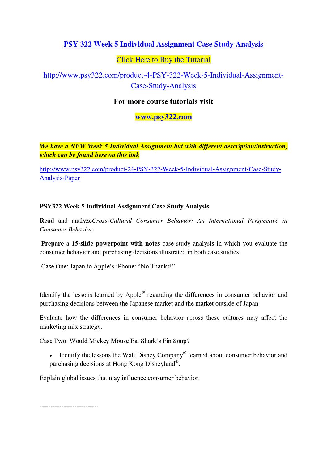 Psy 322 week 5 individual assignment case study analysis by