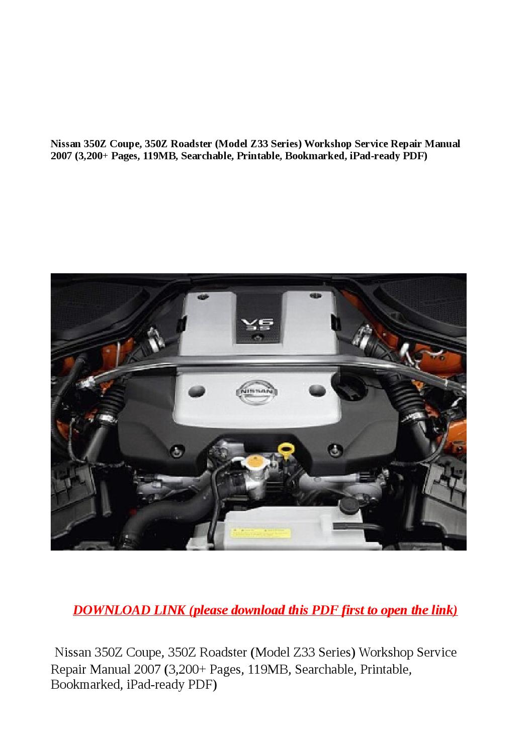 Nissan 350z Coupe 350z Roadster Model Z33 Series Workshop Service Repair Manual 2007 3 200 Pages By Xiumin Issuu