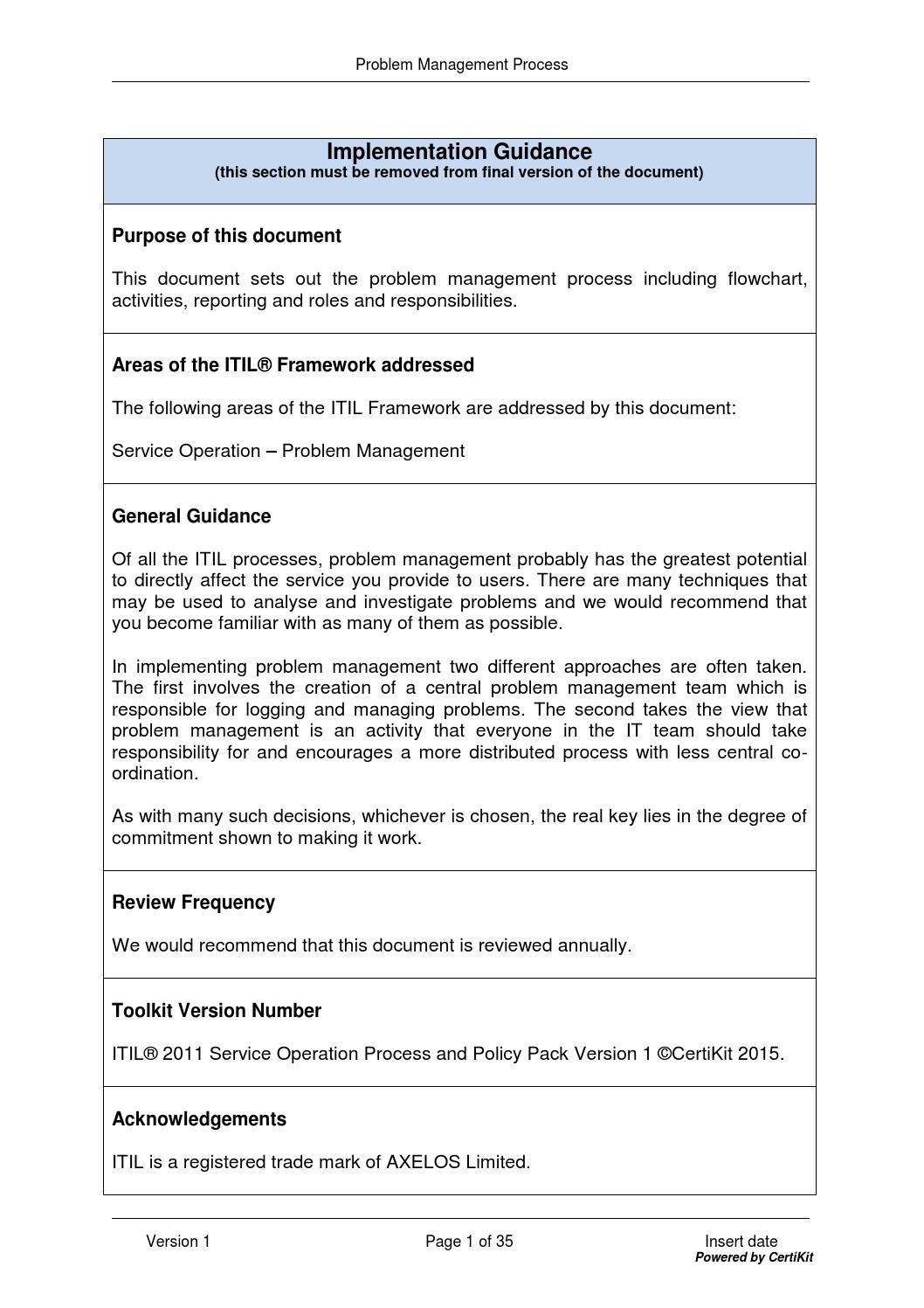 Problem Management: Itilso0402 Problem Management Process By CertiKit Limited