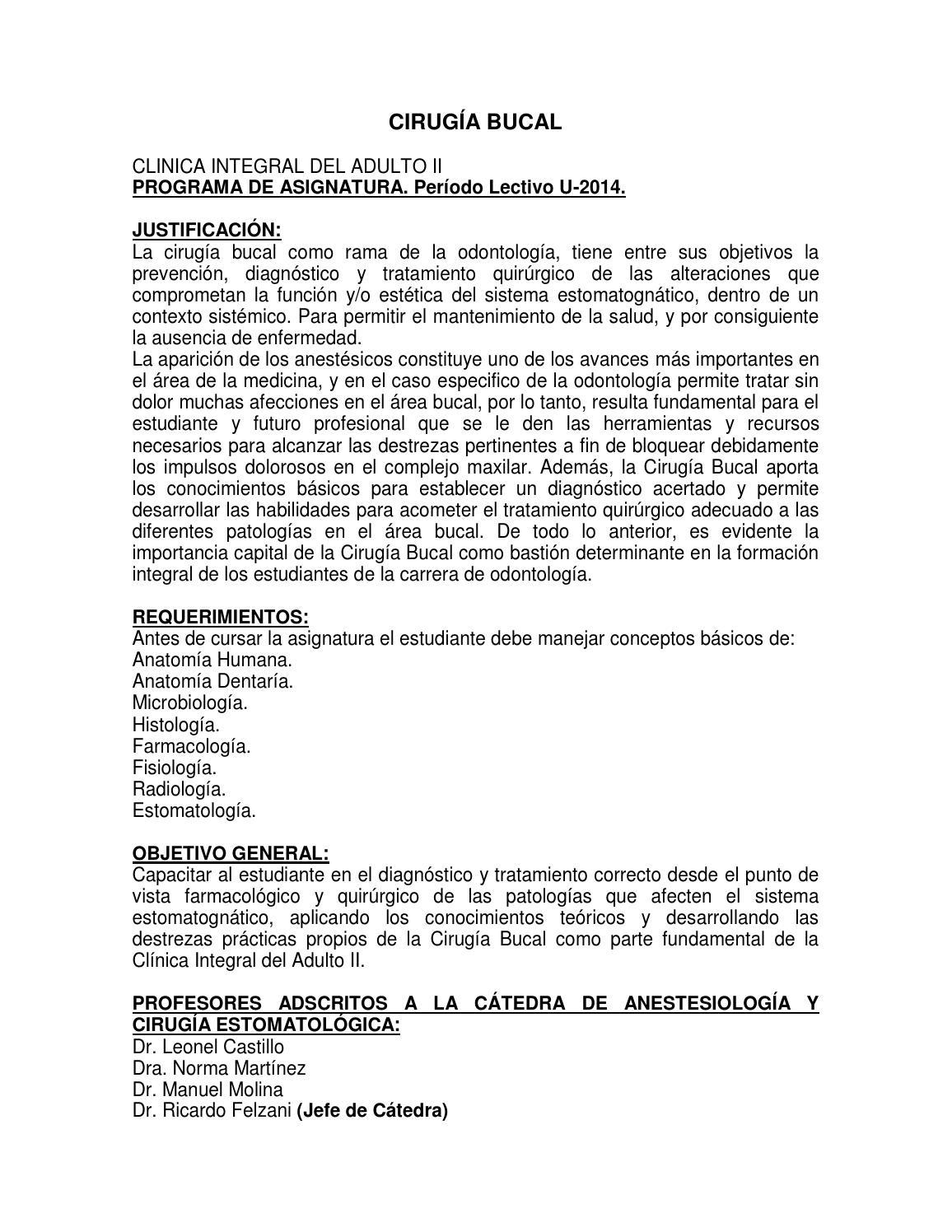 Programa cirugia CIA II periodo U 2014. by Genesis Albarran - issuu