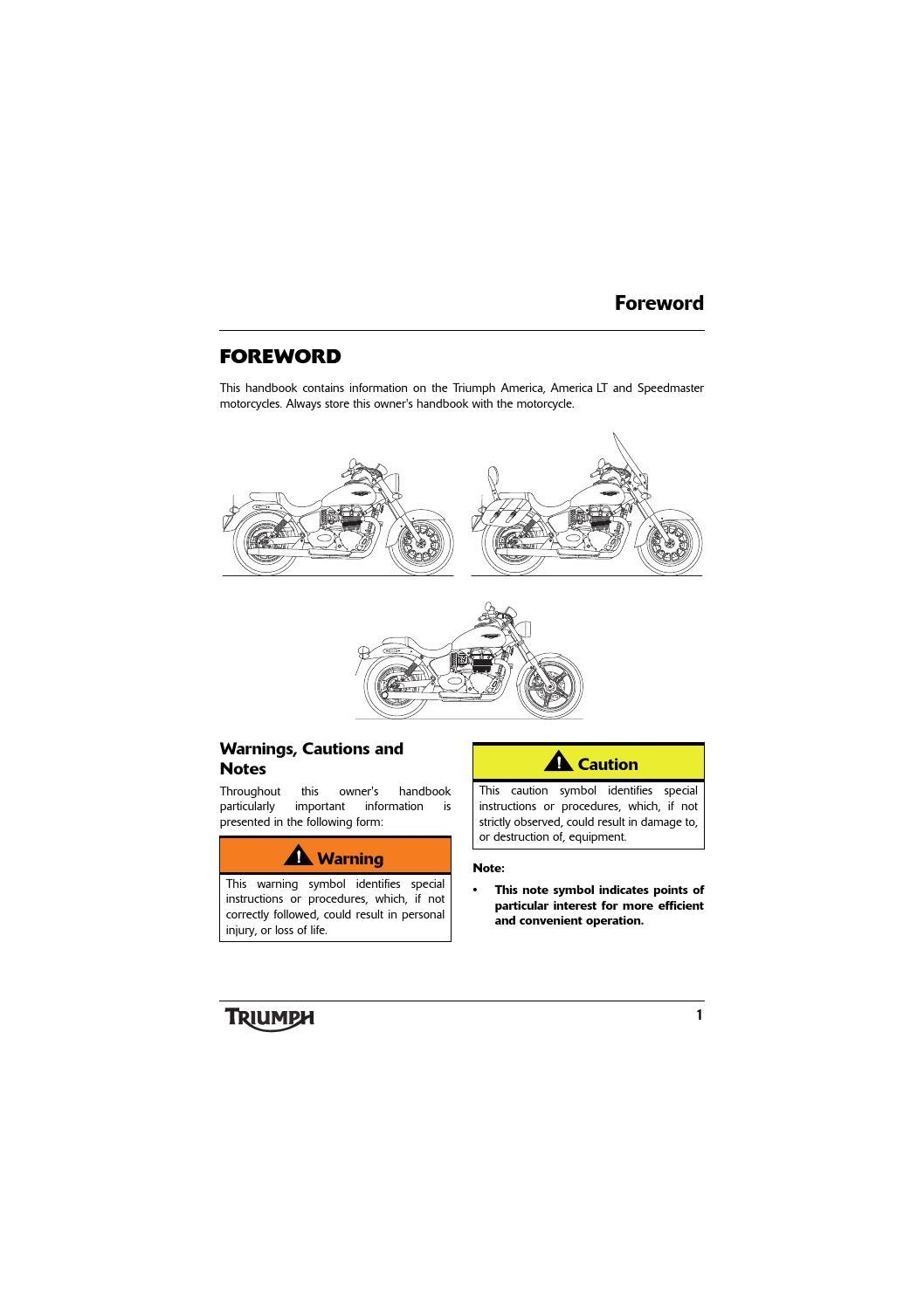 Owners Manual Triumph America Lt By Mototainment Ducati Triumph