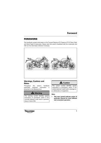 Owner's Manual - Triumph Daytona 675 ABS by Mototainment | Ducati