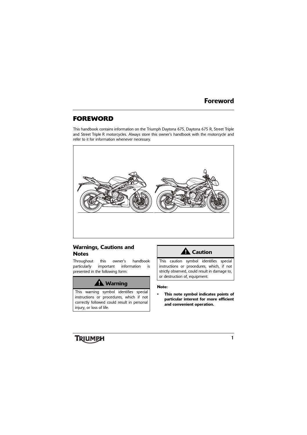 Owner's Manual - Triumph Street Triple ABS by Mototainment | Ducati Triumph  New York - issuu