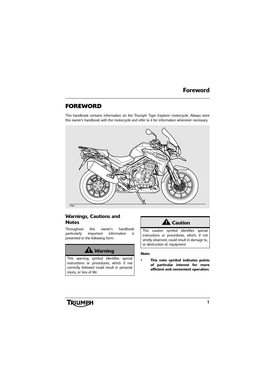 Owners Manual Triumph Tiger Explorer Xc Abs By Mototainment