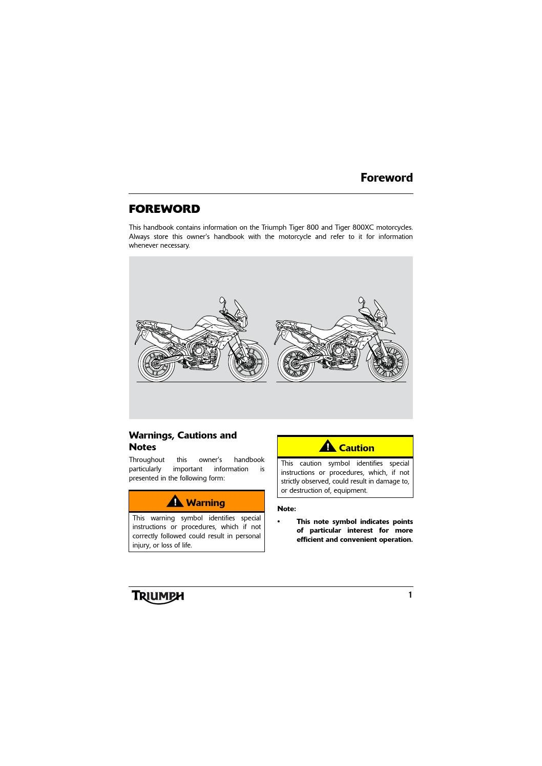 Owners Manual Triumph Tiger 800 Xc By Mototainment Ducati