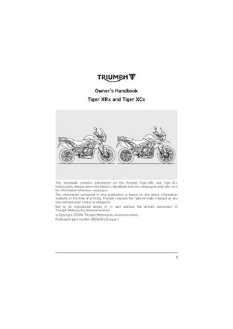 Owners Manual Triumph Tiger 800 Xcx By Mototainment Ducati
