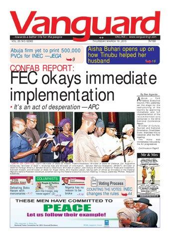 Confab Reportfec Okays Immediate Implementation By Vanguard Media