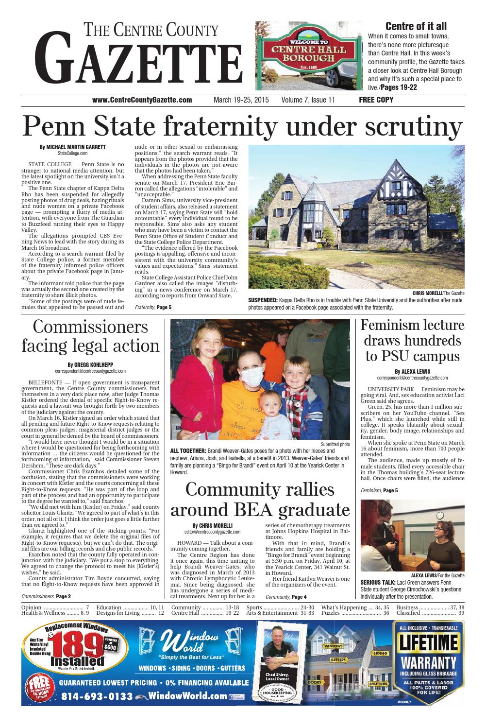 The Centre County Gazette March 19 2015 By Indiana Printing