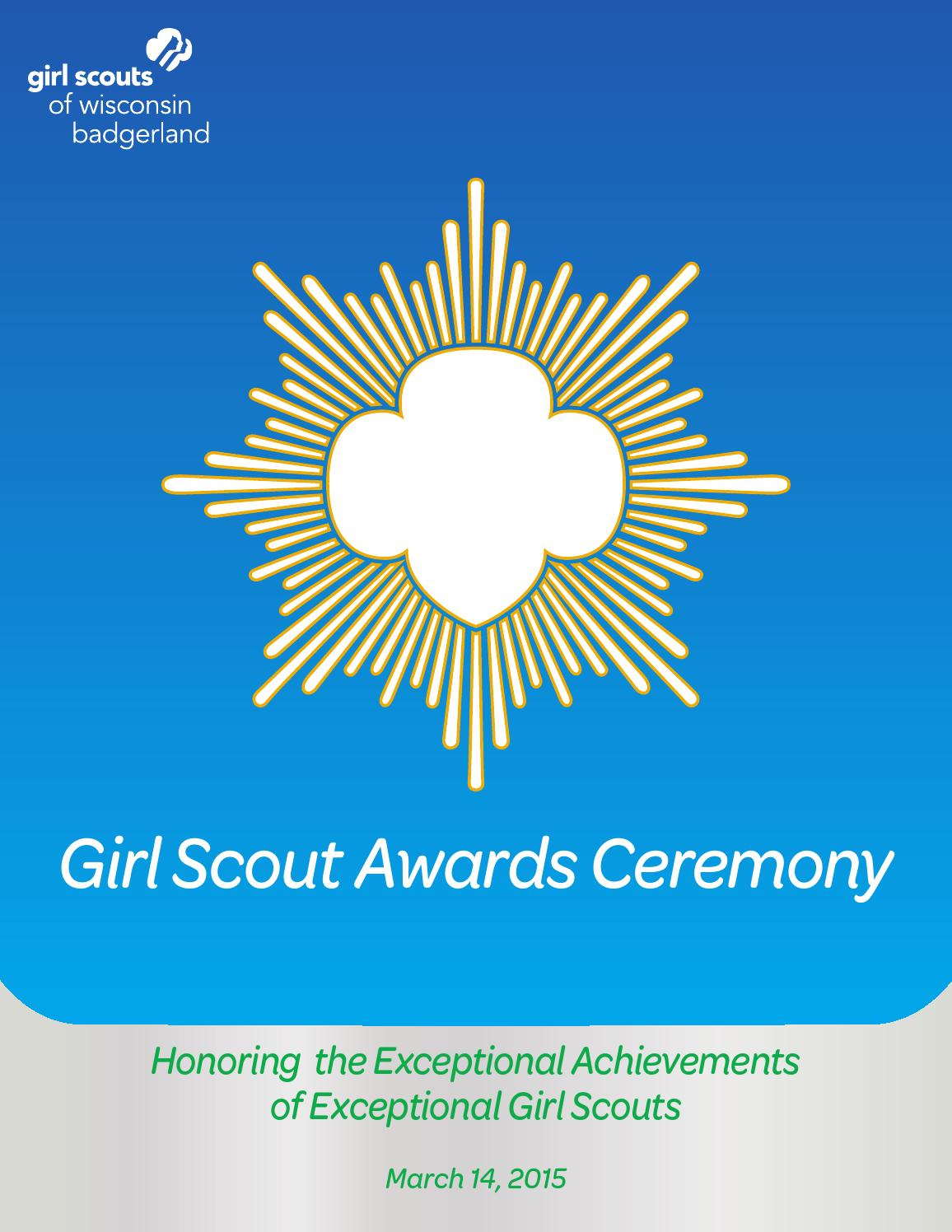 badgerland awards ceremony program 2015 by girl scouts of