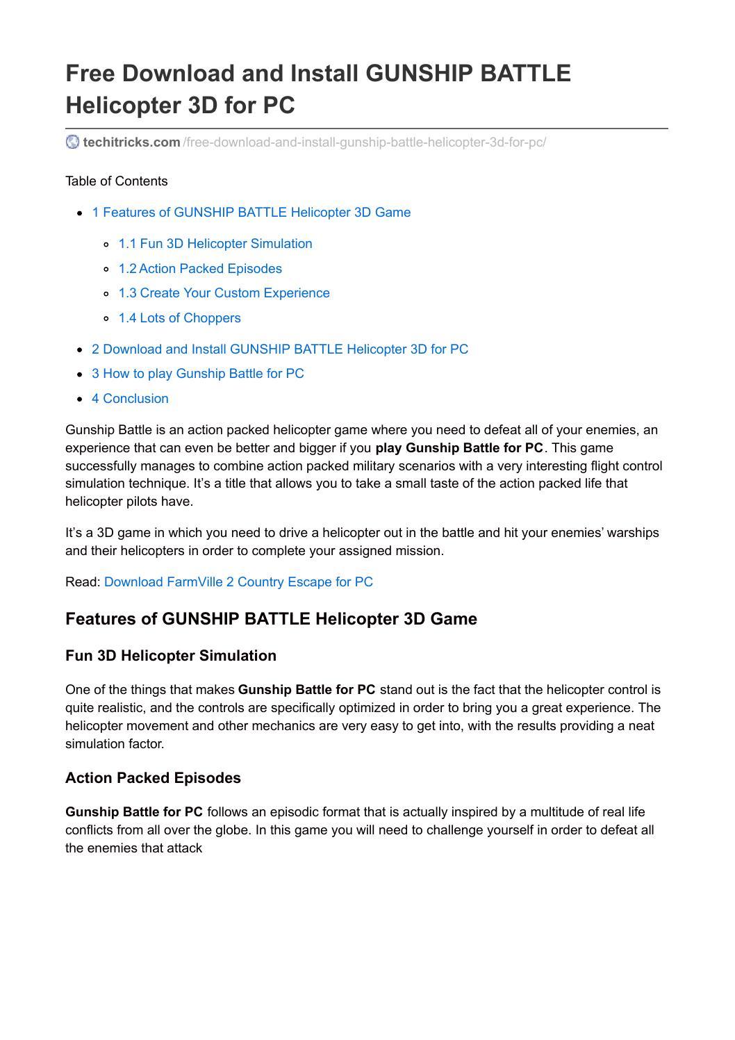 Free download and install gunship battle helicopter 3d for pc by free download and install gunship battle helicopter 3d for pc by techitricks issuu solutioingenieria Gallery