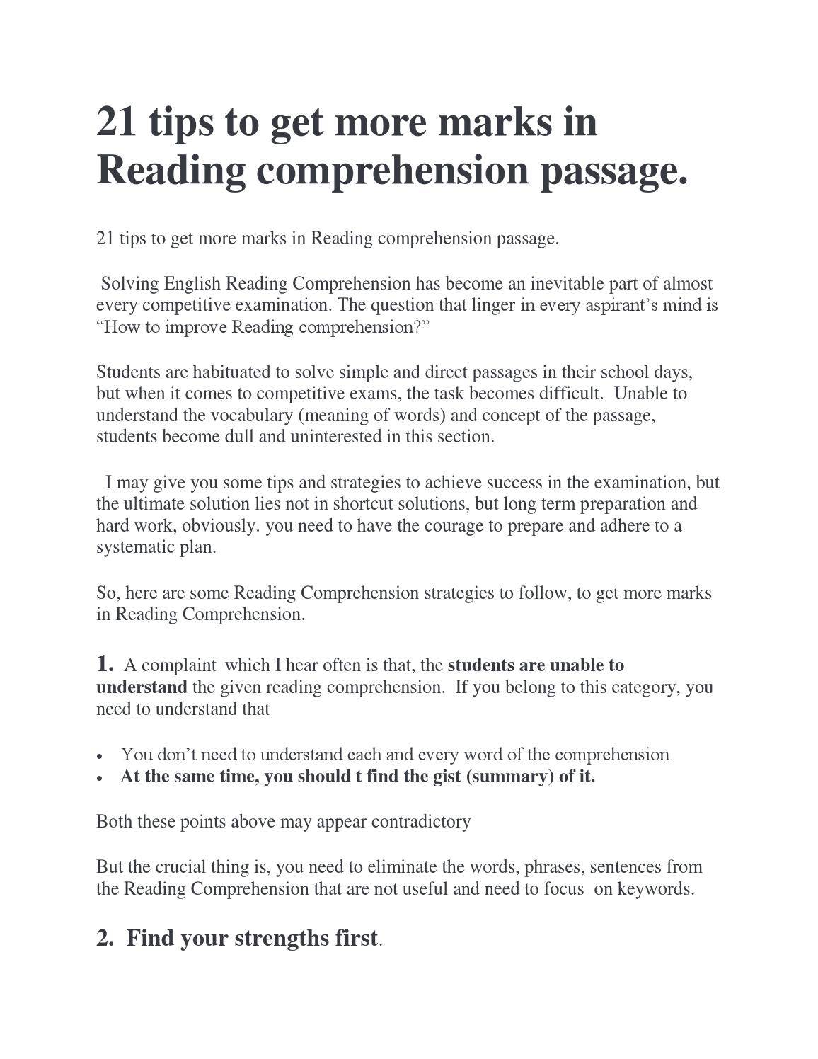- 21 English Reading Comprehension Tips By Englishachiever - Issuu