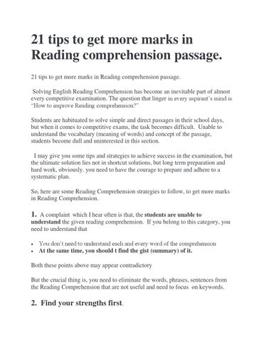 21 english reading comprehension tips by englishachiever issuu 21 tips to get more marks in reading comprehension passage 21 tips to get more marks in reading comprehension passage solving english reading ibookread ePUb