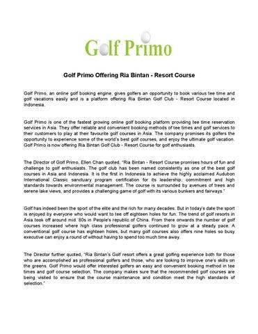 Golf primo offering ria bintan resort course