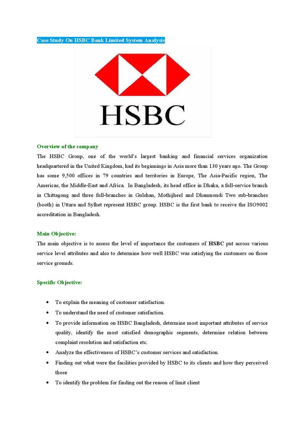 Case study on hsbc bank limited system analysis by Md Papon