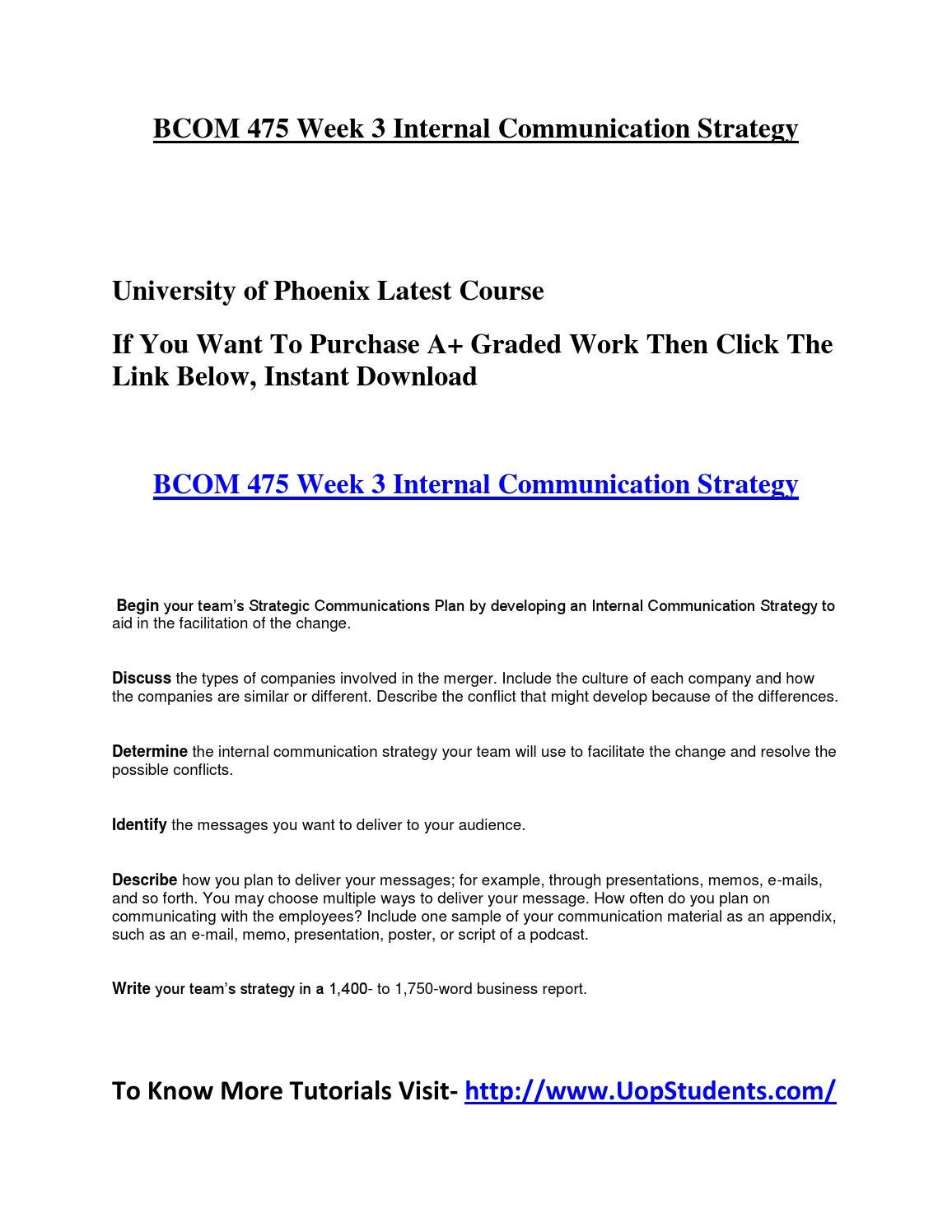 Bcom 475 Week 3 Internal Communication Strategy By Emilia Taylor Issuu