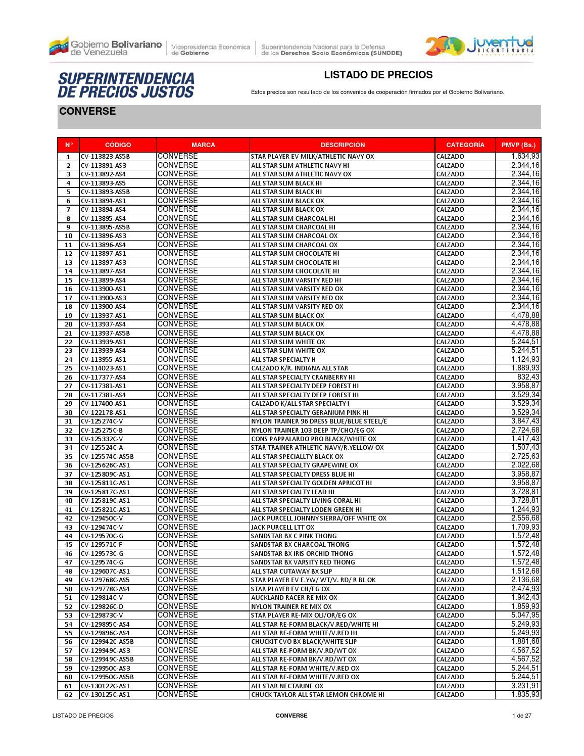 efb54130c6063e Lista de precios converse by DiarioRepublica.com - issuu