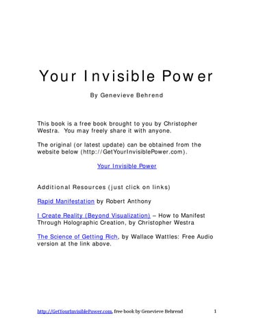 Your Invisible Power By Genevieve Behrend By Reality Beyond Belief