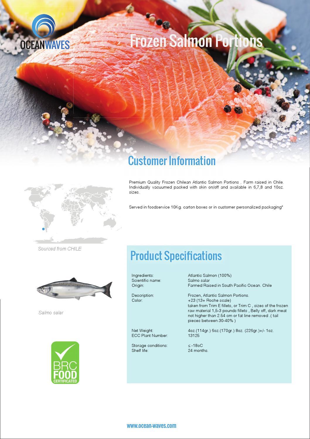 Frozen Atlantic Salmon Spec Sheet By Ocean Waves Uk Ltd