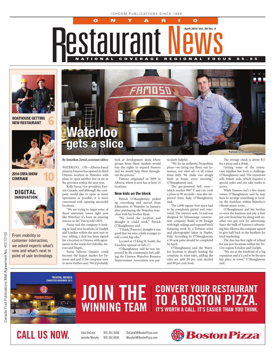 Ontario Restaurant News - April 2014 by Ishcom Publications - issuu
