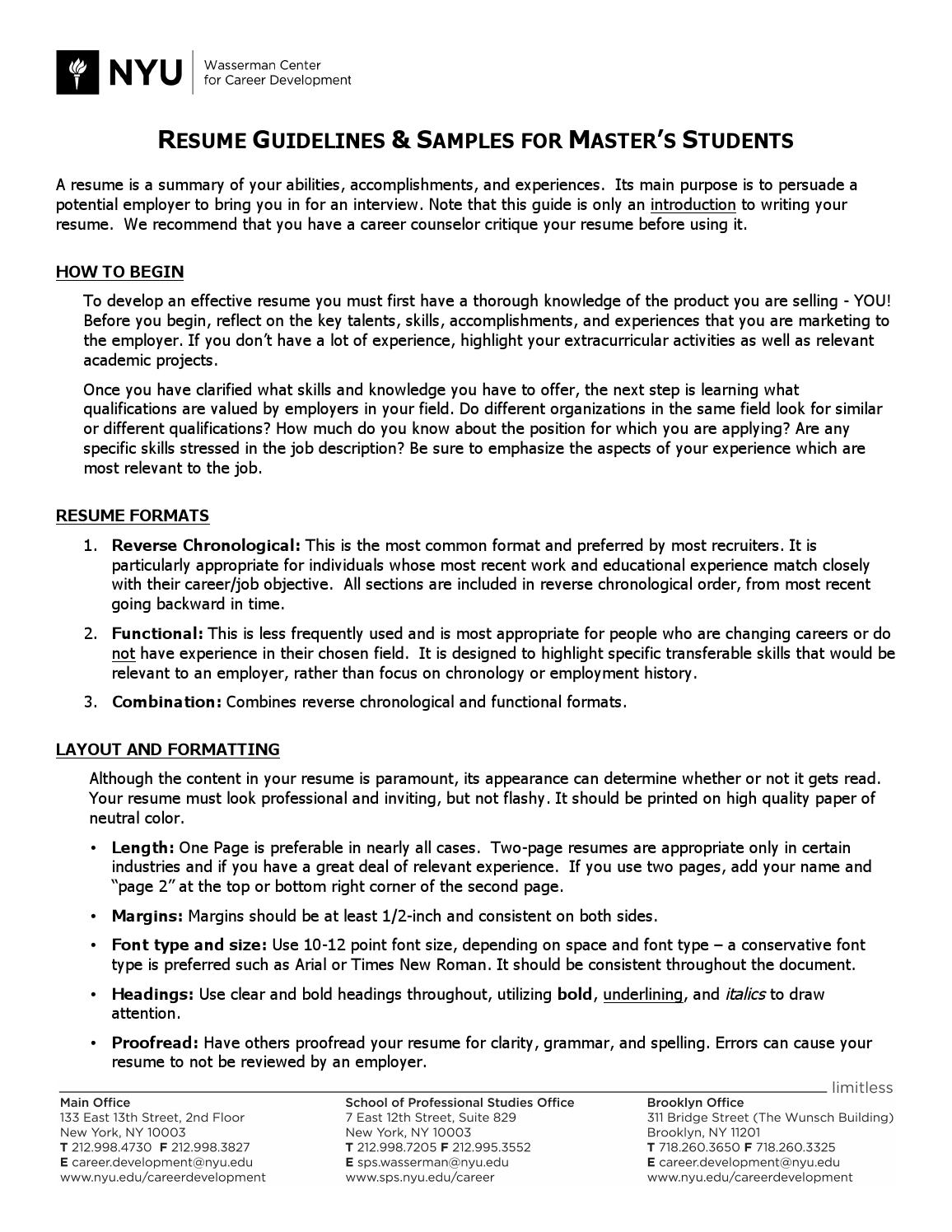 Graduate Student Resume Guide By Center For Urban Science And