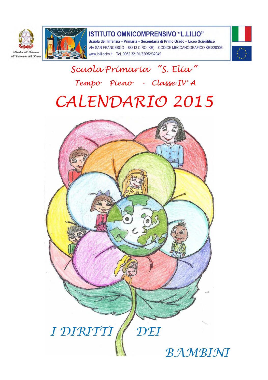 Calendario Del Tempo Scuola Infanzia.Calendario Diritto Dei Bambini By Istituto Omnicomprensivo