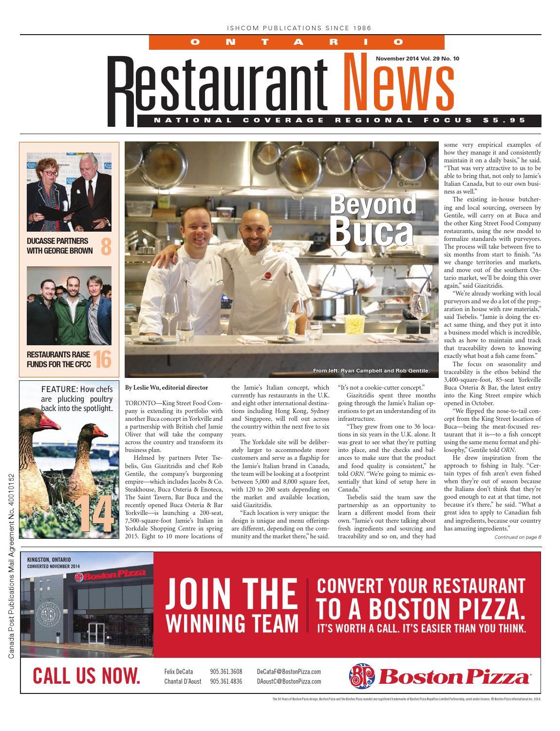 Ontario Restaurant News - November 2014 by Ishcom Publications - issuu