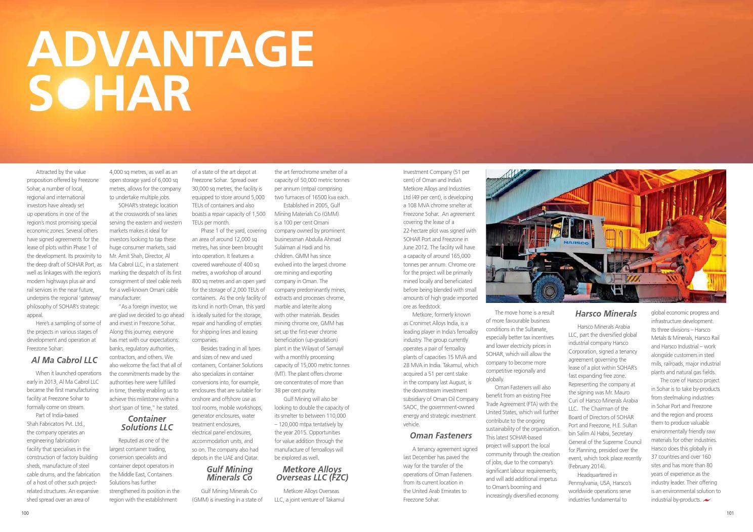 Port of Sohar & Freezone Magazine 2014, Issue 7 by Oman