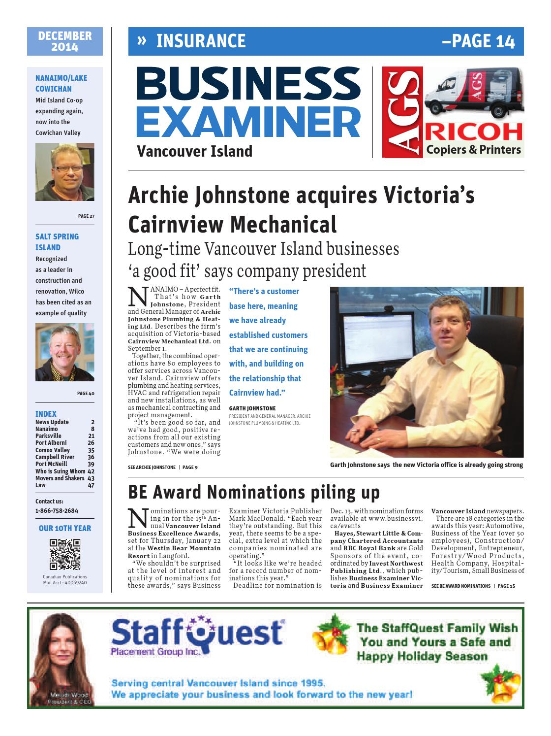 Business Examiner Vancouver Island - December 2014 by Business