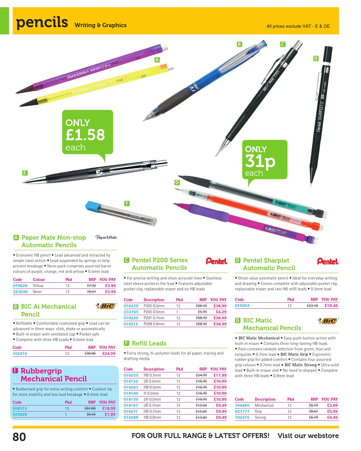 Pentel 0.9mm Yellow P200 Series Automatic Mechanical Draughting Pencil Refillable Lead Eraser P209-G Pack Of 6 P209