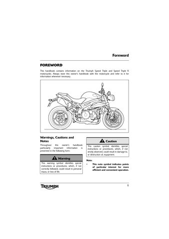 Owner's Manual - Triumph Speed Triple and Speed Triple R by