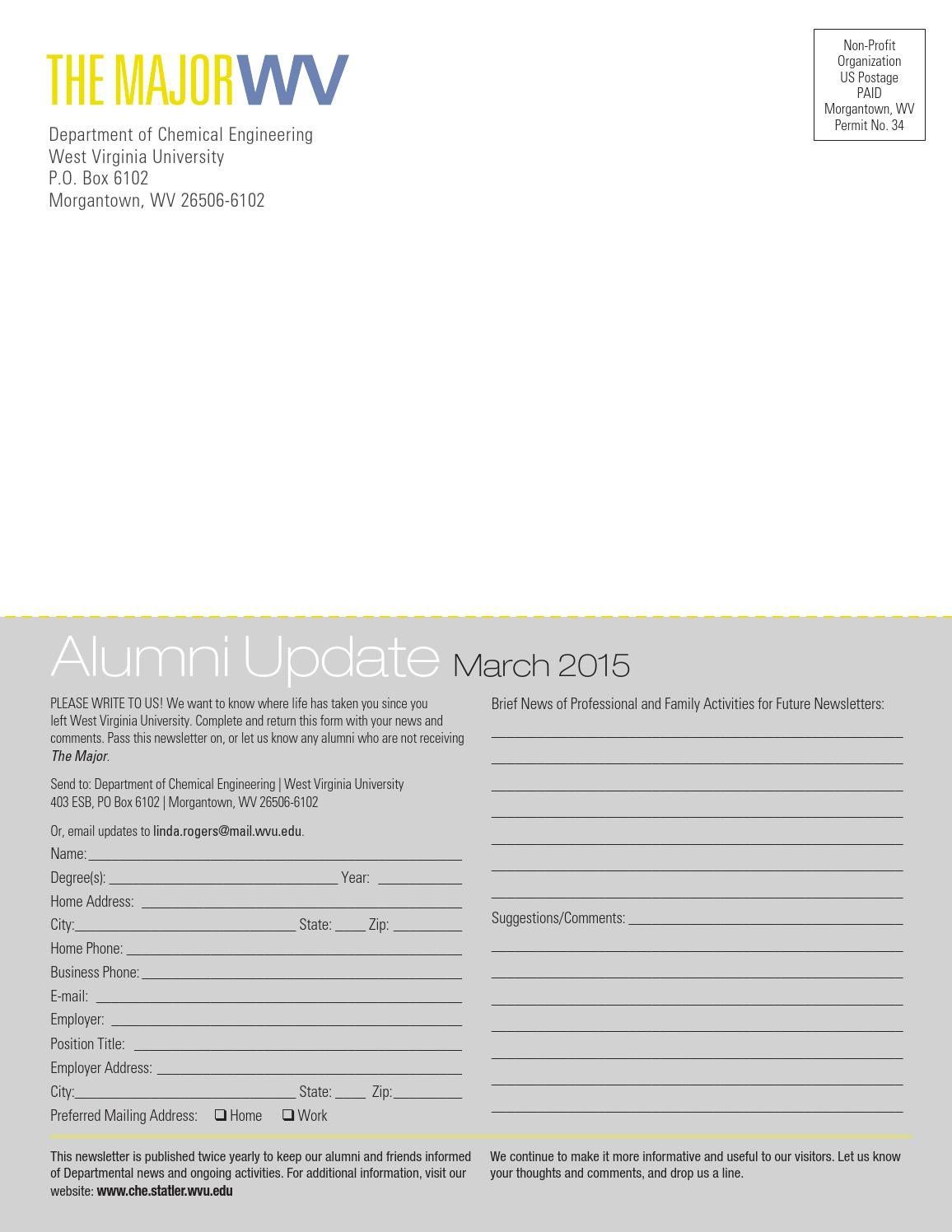 WVU Chemical Engineering Newsletter 2015 by WVU Statler