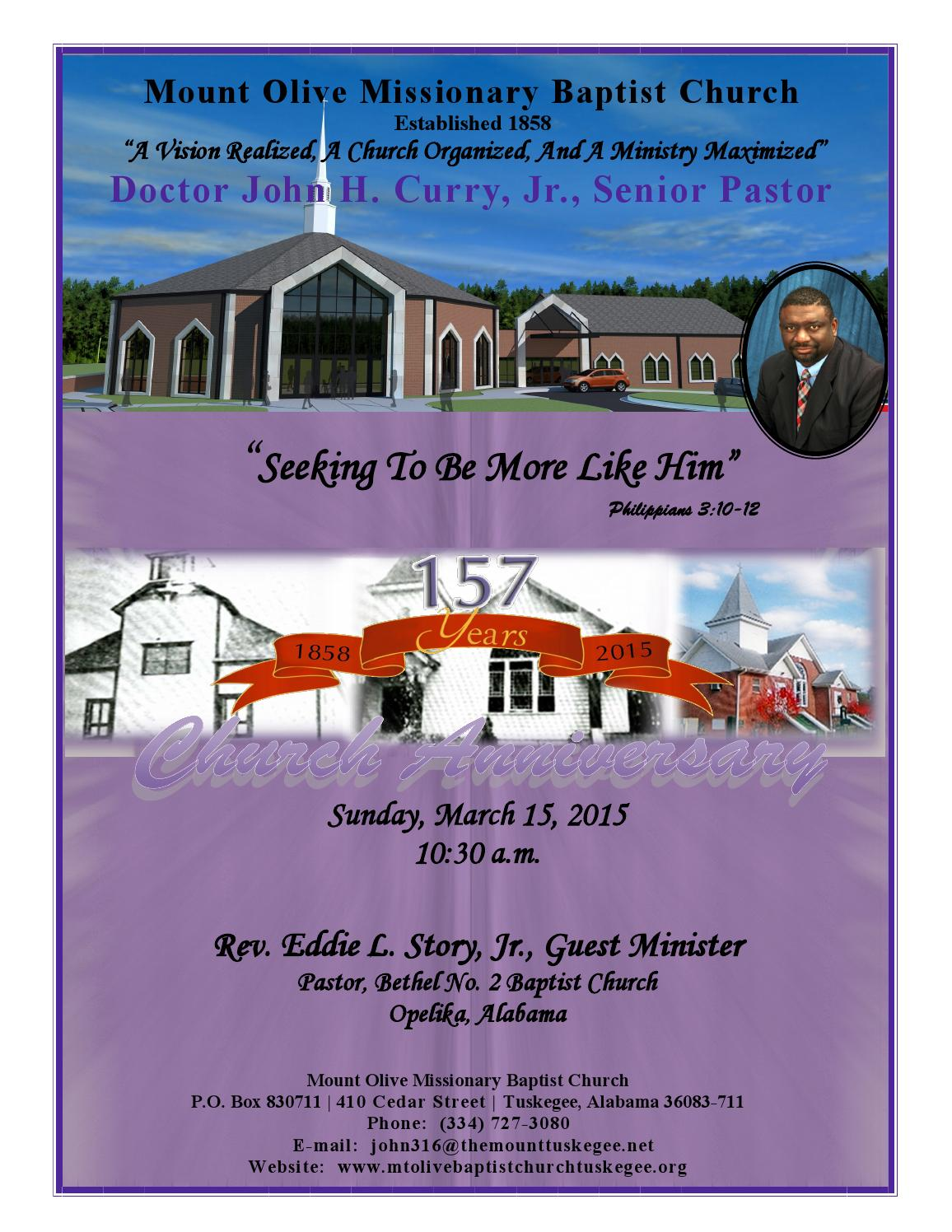 157th church anniversary final by Tuskegee University ...