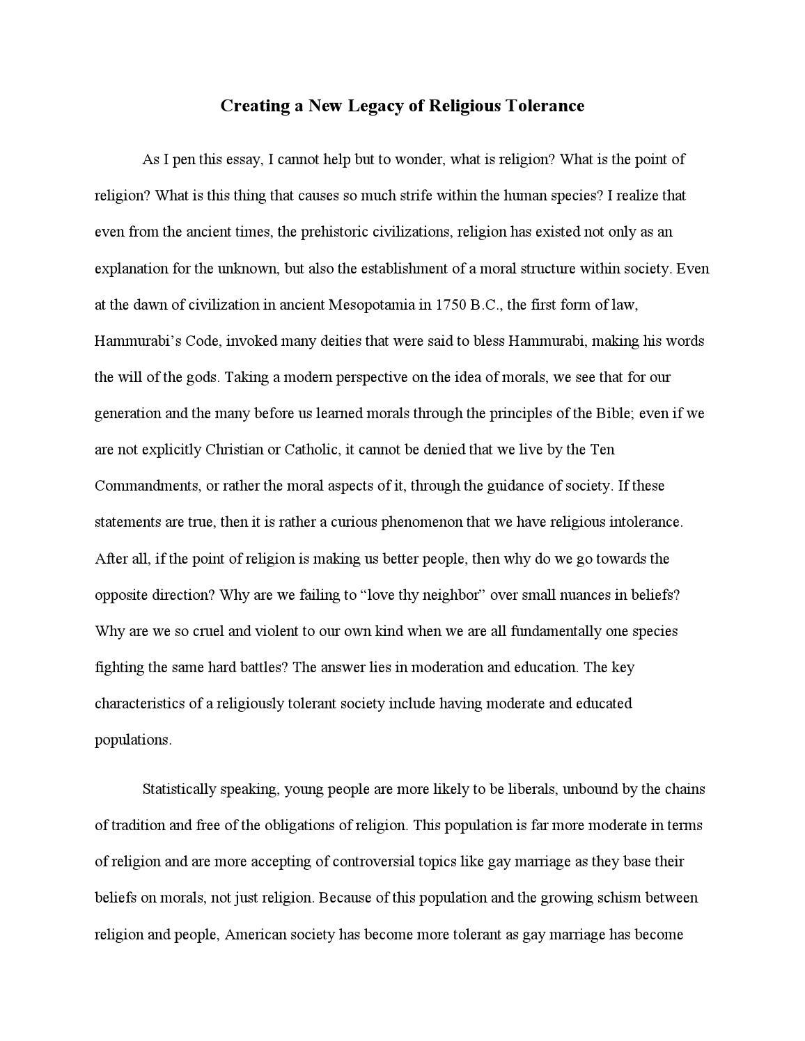 tolerance in society essay