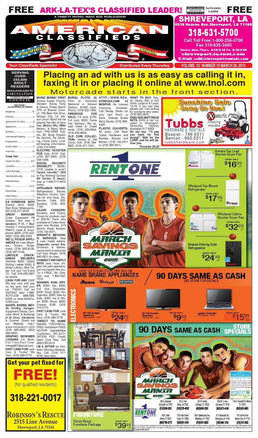 American classifieds shreveport la march 26th 2015 by shreveport american classifieds issuu